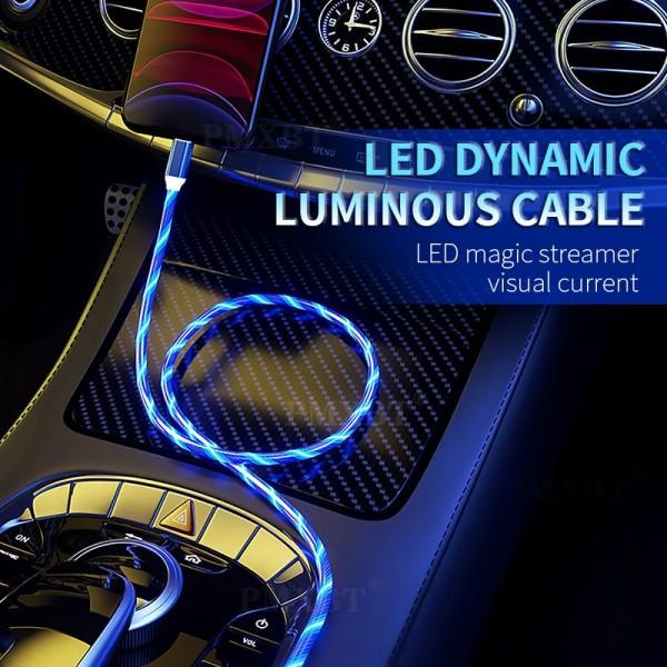 Cablu de incarcare LED 2.4A MicroUSB / Lightning / iphone de 1m,