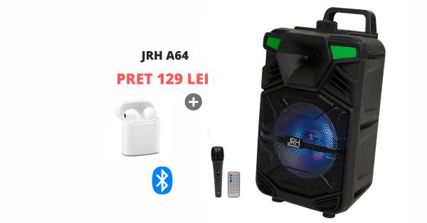 Boxe activa JRH A64 bluetooth 150W cu Casca bluetooth cadou
