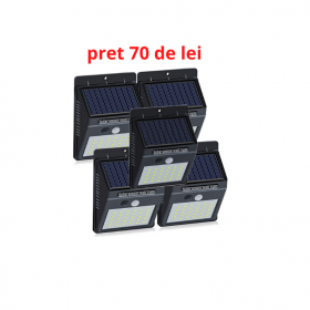 Set 5 lampi solar cu 30 led , senzor de miscare si senzor de lumina