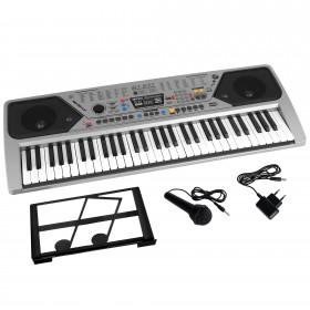 Orga Electronica Cu 61 De Clape , 100 De Ritmuri , 100 De Tonuri , 10 Melodii Demo , Argintiu