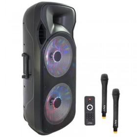 Boxa portabila 800W Active Professional iluminata LED, Bluetooth 2 Microphone wireless telecomanda , FM