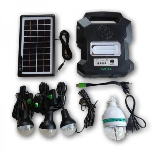 Kit solar portabil Gdlite GD-1000A, USB, bluetooth, radio FM, MP3, 4 becuri incluse −23%