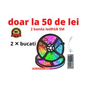 oferta 2 Banda LED SMD RGB , Lungime 5 Metri cu controller , telecomanda , transformator