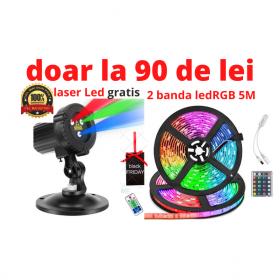 Oferta 2 banda led rgb 5M CU PROIECTOR LASER LED