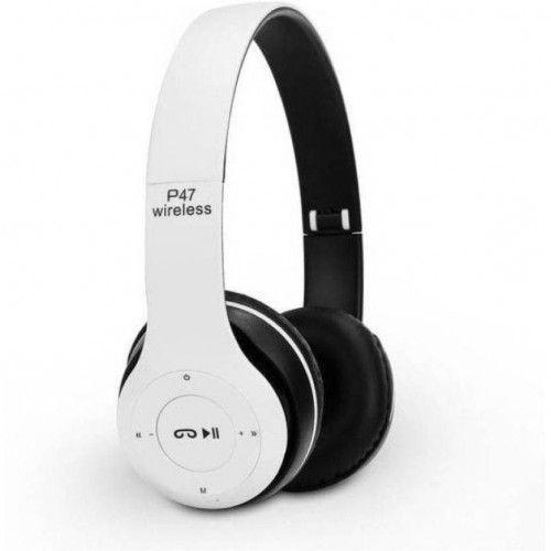 Casti Audio, P47, Wireless, Bluetooth, Alb negru rusu albustru