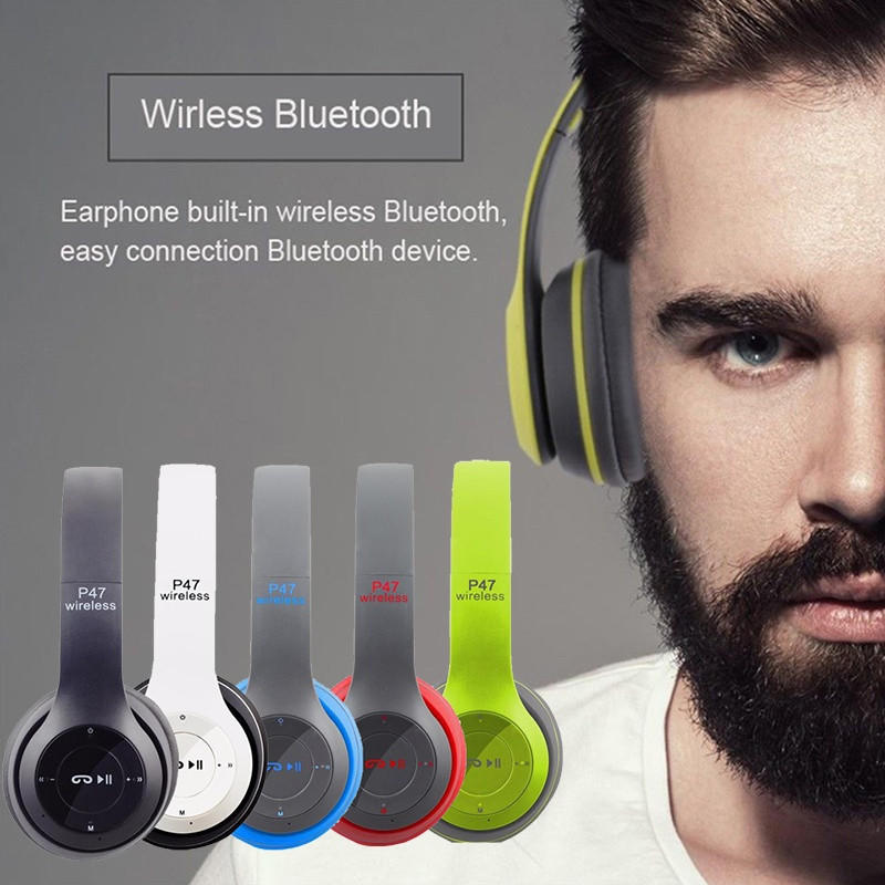 Casti Audio, P47, Wireless, Bluetooth, Alb negru rusu albustru