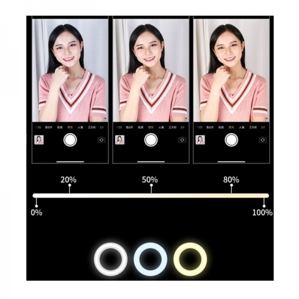 Lampa circulara portabila de masa Wow Lights W-04 ,inaltime maxima 50 cm , 64 LED-uri , 3 moduri de iluminare , telecomanda pe fir , roz