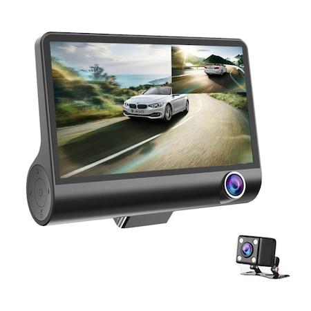 Camera de bord auto DVR Full HD cu 3 obiective fata, spate, interior
