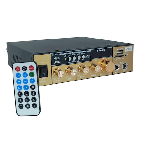 Amplificator receiver Bluetooth BT-158, USB, telecomanda inclusa