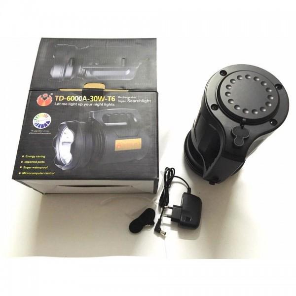 Lanterna profesionala cu LED T6 30 W , acumulator integrat ,negru