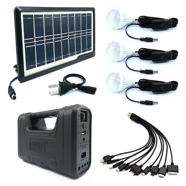 Sistem iluminat Interior Panou Solar 6 LED + 3 Becuri SMD
