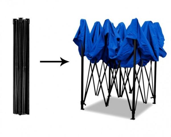 Cort Pavilion 3x3m Albastru Pliabil Cadru Metal pentru Curte, Gradina, Evenimente